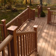 Exterior view of the wooden decking system and deck, handrail, outdoor structure, wood, wood stain, brown