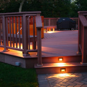 Exterior view of the decking system and patio backyard, baluster, deck, handrail, home, house, landscape lighting, lighting, outdoor structure, porch, black