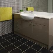 view of the quantum quartz benchtop - view bathroom, bathroom accessory, bathroom cabinet, countertop, floor, flooring, interior design, plumbing fixture, product design, room, sink, tile, wall, black, gray