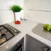 view of the quantum quartz benchtop - view countertop, interior design, kitchen, property, room, sink, tap, tile, white