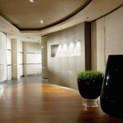 view of the lift lobby of this private ceiling, daylighting, floor, flooring, hardwood, interior design, lobby, room, wall, wood, wood flooring, brown, gray