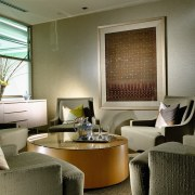 view of this casualrelaxed meeting room with comfy ceiling, interior design, living room, room, window, brown