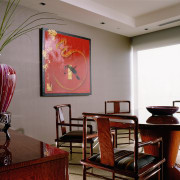 view of the meeting room showing high closs ceiling, dining room, interior design, living room, room, table, wall, gray