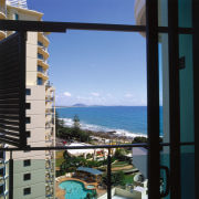 view from the apartments - view from the apartment, balcony, building, condominium, hotel, property, real estate, sea, sky, vacation, window, black, teal