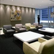 View of the client waiting area, carpet, dark furniture, interior design, black, gray