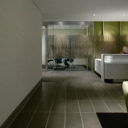 View of a reception area, black tiled floor, architecture, bathroom, floor, flooring, interior design, room, tile, gray, black