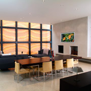 view of the lounge/dining area with the latest ceiling, floor, furniture, interior design, living room, lobby, table, wall, gray