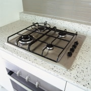 view of the bosch gas cooktop - view cooktop, countertop, gas stove, home appliance, kitchen stove, sink, gray, white