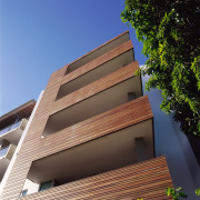 view of the timber clsdding - view of apartment, architecture, brick, building, commercial building, condominium, daylighting, elevation, facade, home, house, line, property, real estate, residential area, roof, siding, sky, blue, black