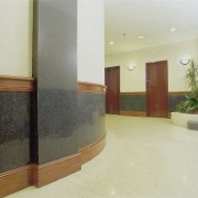 view of the granite  benchtops and wall floor, flooring, glass, hardwood, interior design, lobby, property, real estate, wall, yellow