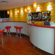 view of the granite  benchtops and wall bar, café, flooring, furniture, interior design, restaurant, table, brown