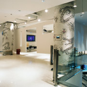A view of the Sony gallery, polished concrete ceiling, exhibition, floor, glass, interior design, lobby, gray