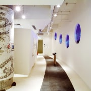 A view of the walkway in the Sony exhibition, interior design, product design, gray, white