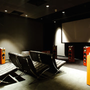 A view of a luxuary home theatre, many auditorium, ceiling, furniture, interior design, product design, table, black