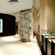 A view of the Sony gallery, polished concrete exhibition, interior design, black