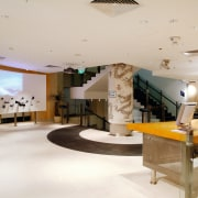 A view of the Sony gallery, polished concrete ceiling, interior design, lobby, gray