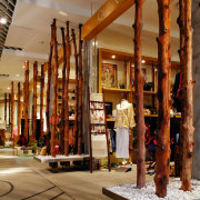 View of some shops in the mall, polished wood, brown