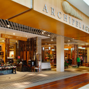 View of the entrance to the shopping mall, interior design, lobby, real estate, brown