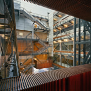 View of the stairwells in the building, many architecture, building, structure, tourist attraction, black
