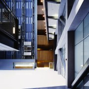 An overall view of the offices and laboritories, apartment, architecture, building, condominium, daylighting, facade, headquarters, house, interior design, window, blue