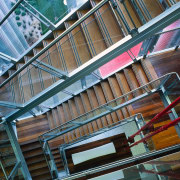 view of the stairway columns - view of architecture, building, daylighting, facade, glass, line, metropolitan area, structure, urban area, black