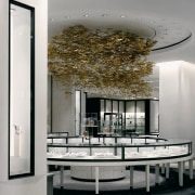 view of the spectacular gold ceiling in the architecture, ceiling, furniture, interior design, table, gray, white