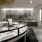 view of a spectacular gold ceiling and museum architecture, black and white, floor, furniture, interior design, monochrome, table, gray, black