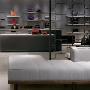 view of the classical modern look of the floor, flooring, furniture, interior design, table, gray, black