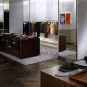 view of the menswear area showing oakwood fumed boutique, floor, flooring, furniture, hardwood, interior design, wood, wood flooring, black, gray