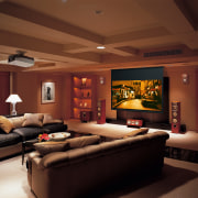view of the lounge and the yamaha home ceiling, home, interior design, lighting, living room, room, wall, brown, red