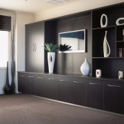 view of the custom unit wall cabinets - flooring, furniture, interior design, shelving, gray, black