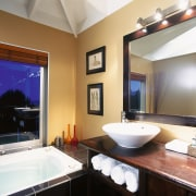 A view of a bathroom, black tiled floor bathroom, ceiling, estate, home, interior design, real estate, room, window, white