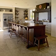 view of the kitchen painted in resene coffee cabinetry, countertop, cuisine classique, floor, flooring, hardwood, interior design, kitchen, laminate flooring, room, wood flooring, brown, gray