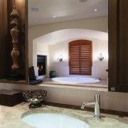 view of the vanity mirror interspersed with wood bathroom, ceiling, floor, interior design, room, wall, gray, black