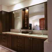 view of the timber vanity with marble top, bathroom, bathroom accessory, bathroom cabinet, cabinetry, countertop, cuisine classique, interior design, kitchen, room, sink, brown, gray