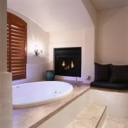 view of the bathroom featuring fireplace, antique wall bathroom, estate, fireplace, floor, flooring, hearth, interior design, property, real estate, room, gray