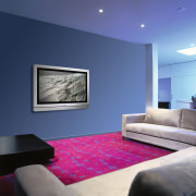 view of the lounge and Woven Axminister carpet architecture, ceiling, daylighting, floor, home, house, interior design, lighting, living room, purple, room, wall, blue
