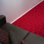 view of the maroon oxygen carpet from feltex angle, floor, flooring, interior design, light, red, wall, wood, red, black, gray