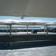 view of the all weather membrane car park shade, structure, gray, black