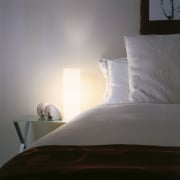 view of the ascot licght fitting providing an bed, bed frame, bed sheet, bedding, bedroom, daylighting, duvet cover, furniture, interior design, light, lighting, linens, mattress, room, sunlight, textile, wall, wood, gray