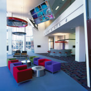 view of the reception area for the vodafone ceiling, interior design, lobby, blue, white