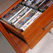 view of the multifunctional wood tv storage cabinet bookcase, furniture, hardwood, shelf, shelving, table, wood, wood stain, gray