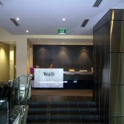 view of the reception area with frameless glass ceiling, glass, interior design, lobby, black