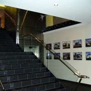view of the stairway with frameless glass ballustrading architecture, ceiling, glass, handrail, interior design, stairs, black, gray