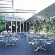 exterior of Student common room at Crown Institute architecture, plant, table, blue, white