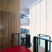 view of the stairs looking out over the architecture, ceiling, interior design, wall, window covering, white, brown