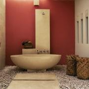 view of the stone/terrazzo bath shower. the stone bathroom, ceramic, floor, flooring, interior design, plumbing fixture, product design, room, tile, orange, brown, red