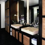 view of the sleek white apaiser stone/terrazzo basins flooring, interior design, room, suite, black