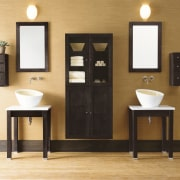 view of this unique bathroom with timber flooring, bathroom, bathroom accessory, bathroom cabinet, furniture, plumbing fixture, product design, sink, tap, brown, orange