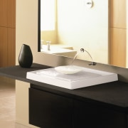 view of the bathroom vanity showing a purist angle, bathroom, bathroom accessory, bathroom cabinet, bathroom sink, ceramic, countertop, floor, furniture, interior design, plumbing fixture, product design, sink, tap, white, black
